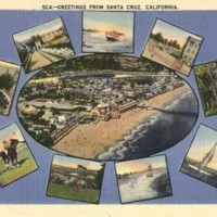 Santa Cruz greeting card highlighting the various landmarks and activities of Santa Cruz County