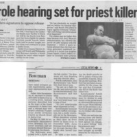 Parole hearing set for priest killer