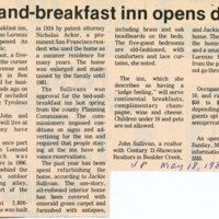 Bed-and-breakfast inn opens doors